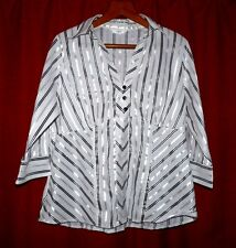 M&S Uk 20 white black stripe satin blouse TV secretary governess 48 chest LOOK