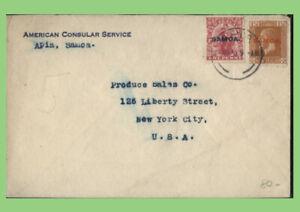 Samoa 1920 American Consular service cover, Apia to USA