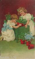 """""""Neujahr, Kinder, Kleeblatt"""" 1907, Prägekarte ♥ (10538)"""