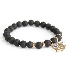 Hamsa / Black Agate - Gemstone Bracelet