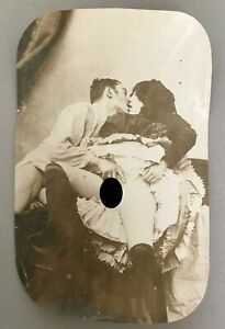 Rare Nude Couple at Foreplay - Vintage Albumen Photograph - c1870-1880