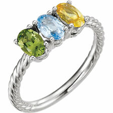 Mother's Jewelry Sterling Silver 1-5 Oval Birthstones Mothers Day Ring gift