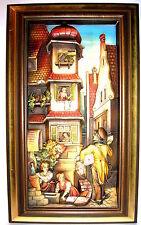 XL Anri Holzrelief Gemälde Carl Spitzweg Der Postbote 51,5 x 36,5cm