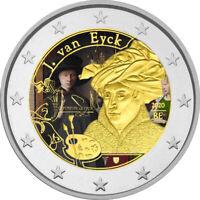 2 Euro Gedenkmünze Belgien 2020 coloriert / Farbe Farbmünze J Van Eyck   1 s