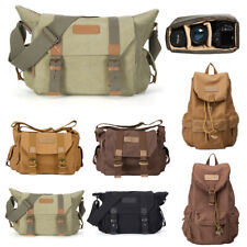 DSLR Camera Bag Canvas Shoulder Messenger Sling Backpack For Canon Nikon Olympus