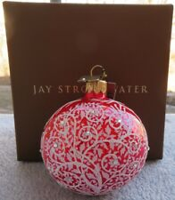 """Jay Strongwater Filigree Artisan Siam Red Glass 3"""" Ball Floral Scrolls New Box"""