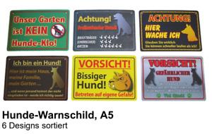 Hunde Warnschild Warnschilder Hundeklo Bissiger Hund Achtung Vorsicht PVC DIN A5