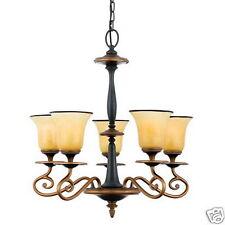UNIQUE STONEHEDGE 5 LIGHT CHANDELIER W/ART GLASS