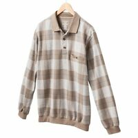 New Safe Harbor Men's Jacquard Long Sleeve Polo in Tan/Beige Plaid MSRP $50