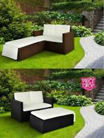 Rattan Outdoor Garden Sofa Furniture Love Bed Patio bed 2 seater Black Brown New