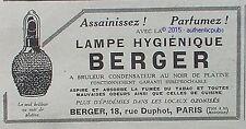 PUBLICITE LAMPE BERGER BRULEUR NOIR PARFUM ANTI TABAC DE 1923 FRENCH AD PUB RARE