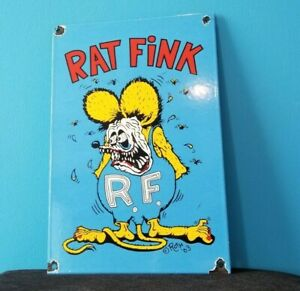 VINTAGE RAT FINK PORCELAIN GAS ED BIG DADDY ROTH HOT ROD SERVICE CHEVY FORD SIGN