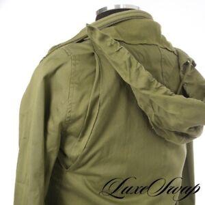 #1 MENSWEAR APC Paris Army Green Detachable Sherpa Lined Hooded Jacket Coat S NR