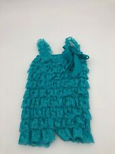 Baby Lace Ruffle Romper 6/9 Months Teal