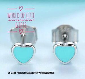 🖤🎀 Blue Heart Stud Earrings Sterling Silver S925 Cute + Gift Pouch