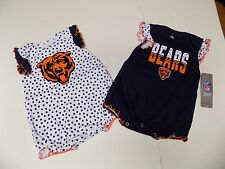 CHICAGO BEARS BABY GIRL 2 PIECE CREEPER SET INFANT SIZE 18 MONTHS NWT