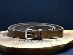 Vintage Womens Skinny Leather Belt Brown Size 32