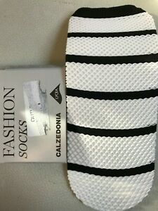 Calzedonia fishnet black-white striped socks, one size, brand new