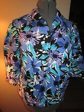 Women's Dressbarn Floral Design Zip Jacket 3/4 Sleeve 14 W Very Good Condition