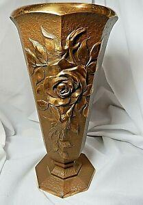 Bronze Art Nouveau Embossed Floral Urn Vase Gold Plated Rim 4 Lb.'s 11 Oz