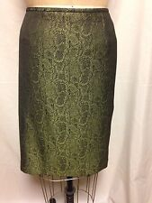 Le Suit Snake Print Pencil Skirt 14 Lime/Black NWT