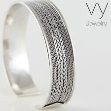 New Men's Women Wide Cuff Bracelet Sterling Silver 925 Bangle Free Size Gift