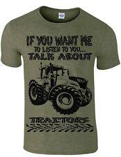 TRACTOR FARMER HUMOUR T SHIRT TALK ABOUT TRACTORS  SLOGAN