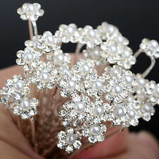 40 pcs Pearl Flower Diamante Crystal Hair Pins Clips Prom Wedding Bridesmaids