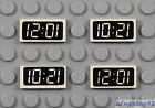 LEGO - 4 pcs Digital Clock 12:01 10:21 - 1x2 Tile White Decorated Wall Print Lot