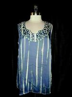 AVENUE Plus Size 2X 18 20 Blouse Shirt Top Blue White Embroidery Sleeveless