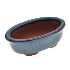 Chinese Style Ceramics Bonsai Flower Pot Dark Blue Glazed Plant Holder Dia 9.8cm
