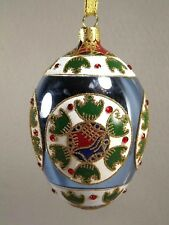 Joan Rivers Easter Christmas Russian Egg Ornament 2008 Blue White Hand Painted