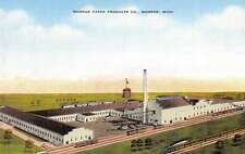 Monroe Michigan Paper Products Co Linen Antique Postcard K25415