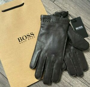 HUGO BOSS BROWN LAMB LEATHER GLOVES SIZE 8 BNWT