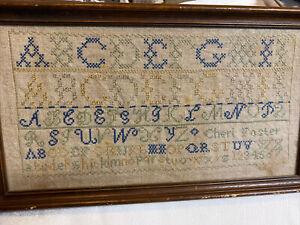 Antique Alphabet Sampler Named Cheri Foster Needlepoint Sewing Framed