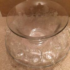 Large Punch/Salad Bowl With Platter And 12 Matching Cups