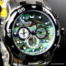 Invicta Pro Diver Scuba Blue Green Abalone Stainless Steel Chronograph Watch New
