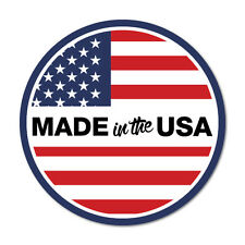 Made In The USA Round Flag America Sticker Flag Bumper Water Proof Vinyl #7503EN