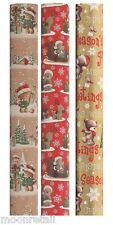 15M Luxury Christmas Wrapping Paper Roll Cute Xmas Teddy Bear Gift Wrap WCBB