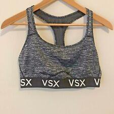 Victoria's Secret VSX Sport Sports Bra XL Extra Large Black Gray Marl Logo Band