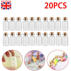 20x Small Clear Glass Cork Lid Bottles Jars Party Sweets Wedding Table Favours