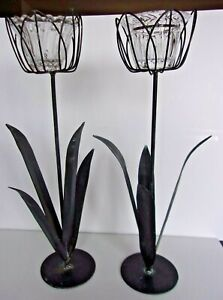 Set of 2 Black Metal  Tulip Shaped Candle Holders with Glass Inserts