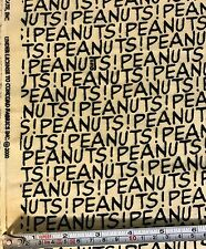 "PEANUTS Gang Flannel Fabric 1-1/4 Yard 42"" Wide Yellow w/ Black Dated 2000"