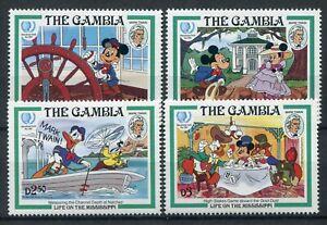 Gambia 1985 Mark Twain Di Walt Disney Complete Series MNH Catalog Y. T.551-554