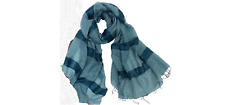 "GGM Blue SILKY STRIPE 30""x70' scarf created by Fair Trade Org. Craftbeauty women"