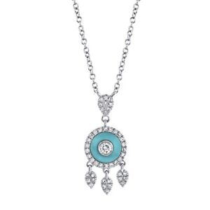 14K White Gold Turquoise Diamond Pendant Necklace Tribal Natural 0.35 TCW Womens