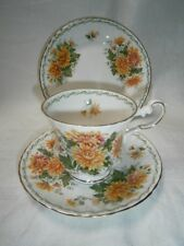 VINTAGE QUEENS FLORAL TRIO CUP SAUCER & PLATE FOR HIGH TEAS - CHRYSANTHEMUM