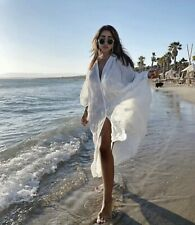Zara Blanco con Puntos Kimono De Verano Playa De Malla Cover Up Dress-Talla XS