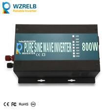 Power Inverter 800W Pure Sine Wave 18V to 110V 120V 1600 Peak Off Grid RV Camp