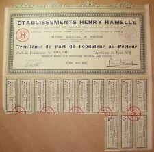 Titre Etablissements HENRY HAMELLE - Trentième de Part de Fondateur au Porteur 2